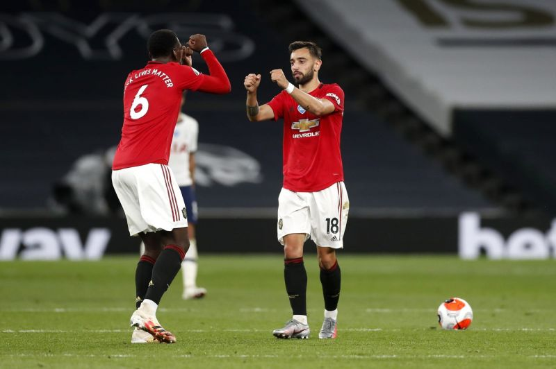 Bruno Fernandes(right) combined well with Paul Pogba (left).