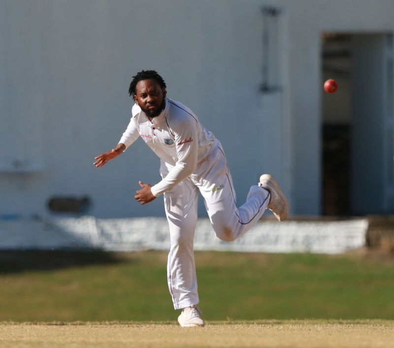 Jomel Warrican bowls against India A at the Queens Park Oval. Picture credit: Trinidad Guardian