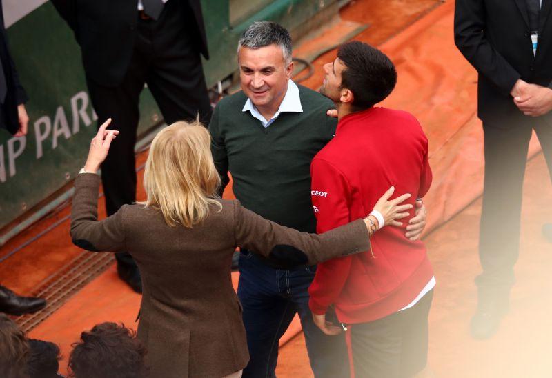 Novak Djokovic with his parents Srdjan and Dijana