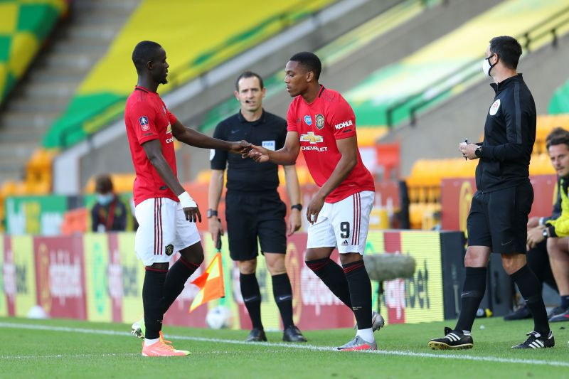 Anthony Martial came on as an attacking substitute for Eric Bailly