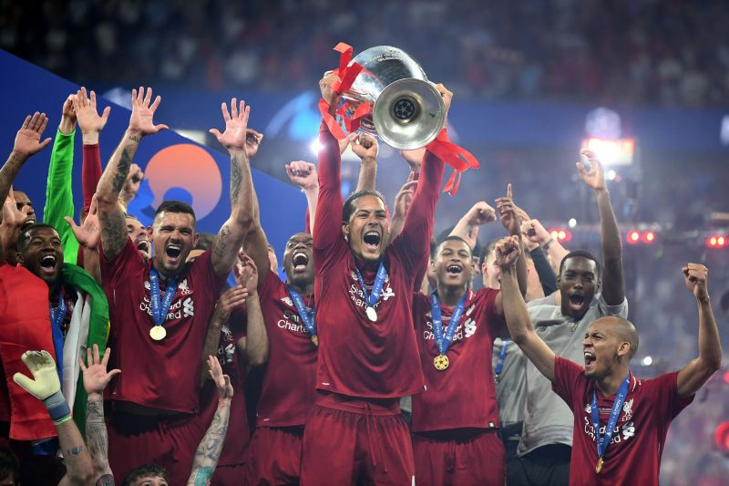 Van Dijk Lifts the Champions League Trophy