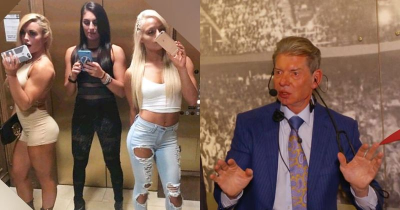 Mandy Rose, Sonya Deville, Liv Morgan and Vince McMahon.