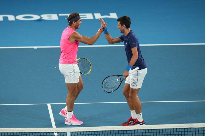 Rafael Naal (L) and Novak Djokovic