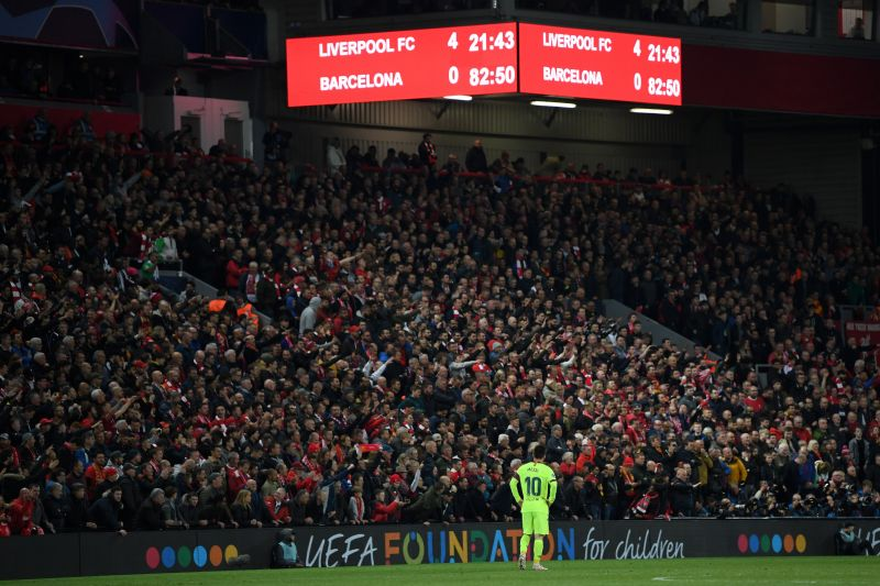 Lionel Messi looks on as Liverpool completed an improbable comeback to book a place in the Champions League final