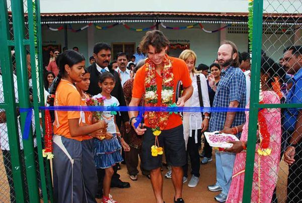 Rafael Nadal in 2010 at the inauguration of his Education cum Sports school in Anantapur, India.