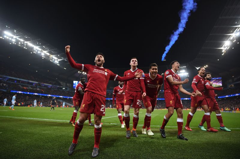Alexander-Arnold (third from right) and Andy Robertson (besides Oxlade-Chamberlain) have developed into auxillary playmakers for Liverpool under Jurgen Klopp.