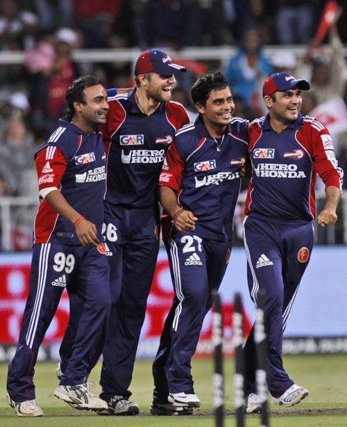 Delhi Capitals, then called Delhi Daredevils, celebrate after reaching the IPL 2009 semifinals.