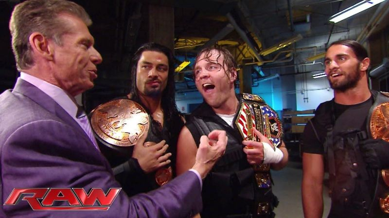 Vince McMahon backstage with The Shield