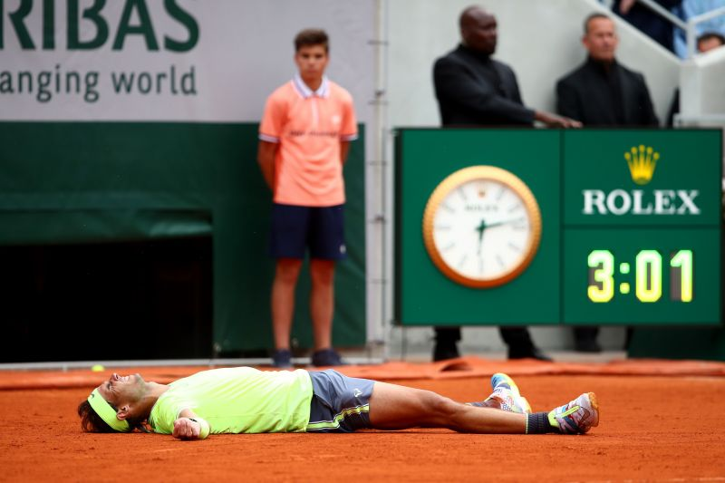 2019 French Open - Rafael Nadal exults after winning his 12th title at the tournament.