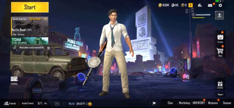 The anniversary lobby in PUBG Mobile Lite (Picture Courtesy: AMbhai gaming/YT)