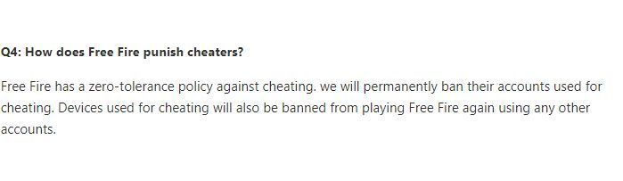 Garena will also ban devices used for cheating (Picture Source: ff.garena.com)