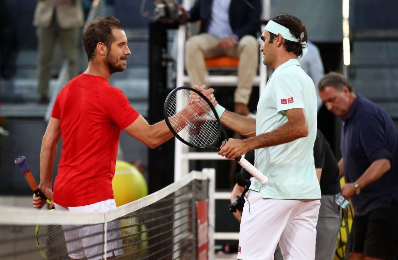 Richard Gasquet and Roger Federer at the Mutua Madrid Open 2019.
