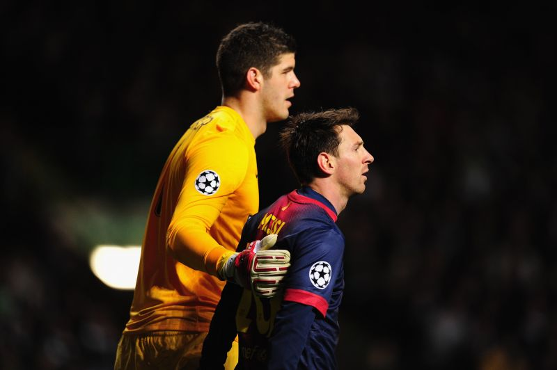 Lionel Messi (right) and Barcelona have not laid their hands on Europe