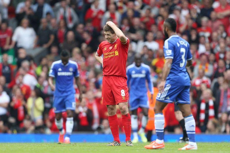 Steven Gerrard rues his mistake against Chelsea.