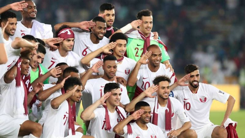 Qatar football team celebrates after lifting the 2019 AFC Asian Cup