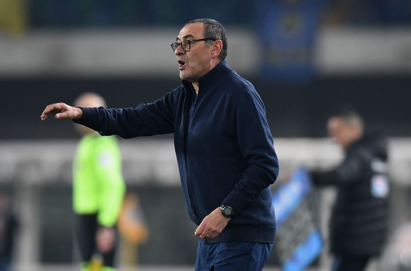 Manager Maurizio Sarri cuts a frustrated figure despite leading Juventus to the top of Serie A.