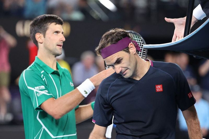 Roger Federer pictured after losing to Novak Djokovic at Australian Open 2020