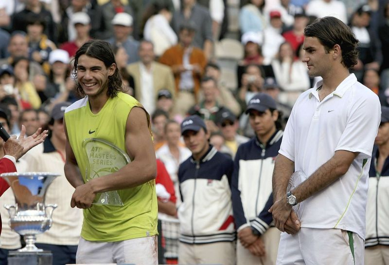 Rafael Nadal after defeating Roger Federer in Rome 2006
