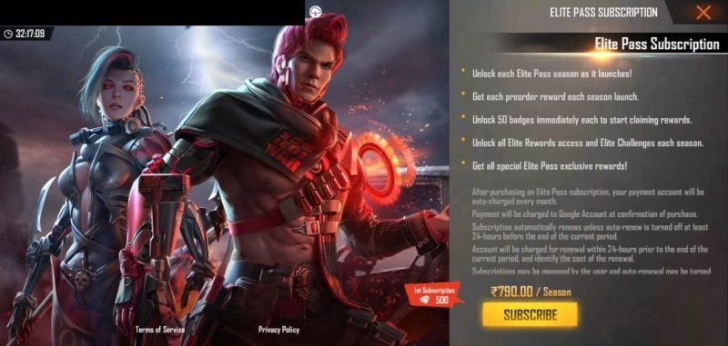 Subscription Elite Pass and Elite Bundle in Free Fire
