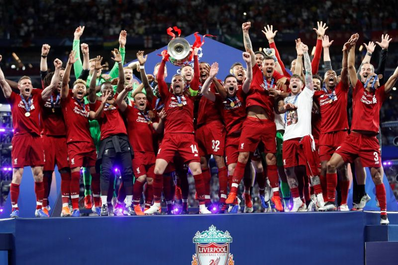 Liverpool celebrating their UCL victory in 2019 after 2-0 win against EPL rivals Spurs