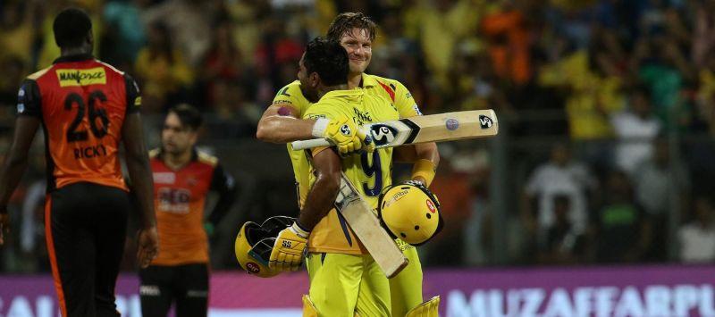 Winning Moment: Shane Watson embraces Ambati Rayudu after taking CSK to victory in the final of IPL 2018
