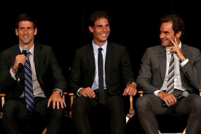 Roger Federer, Rafael Nadal and Novak Djokovic (from right to left)