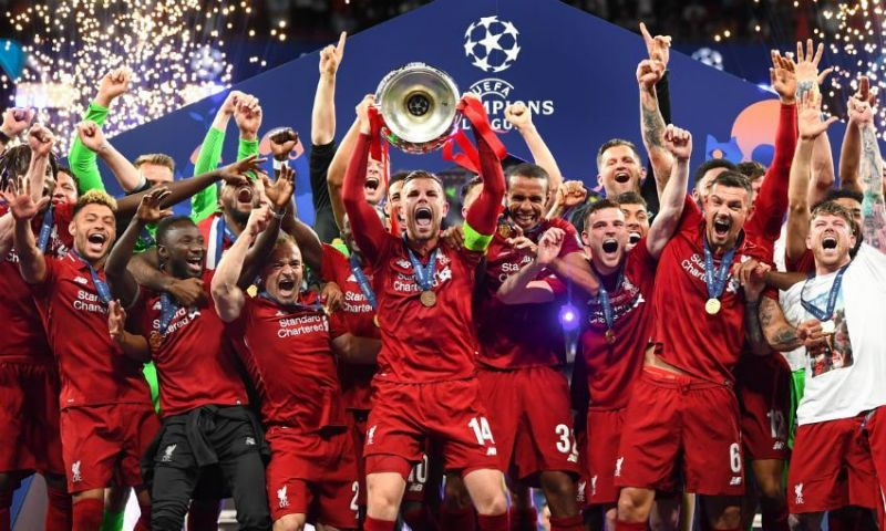 Liverpool celebrate their 2018-19 Champions League title.