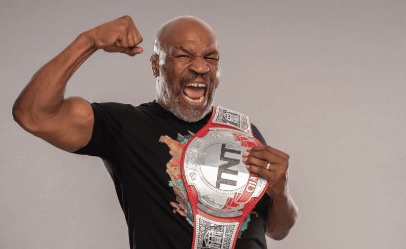 Iron Mike Tyson with the TNT Championship belt.