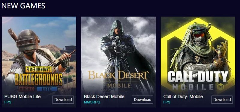 PUBG Mobile lite is in the new games section (Picture Source: gameloop.fun)