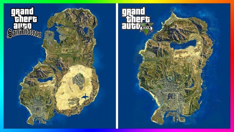GTA: San Andreas vs GTA5 (Image: YouTube)