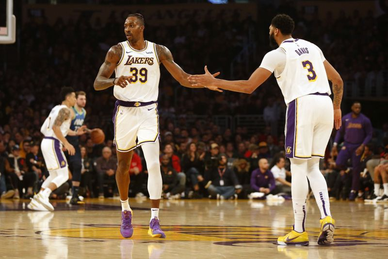 Dwight Howard in action in Lakers uniform