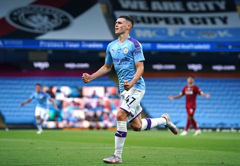 Phil Foden celebrates a goal for Manchester City