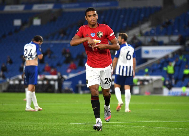 Mason Greenwood celebrates his goal for Manchester United against Brighton.