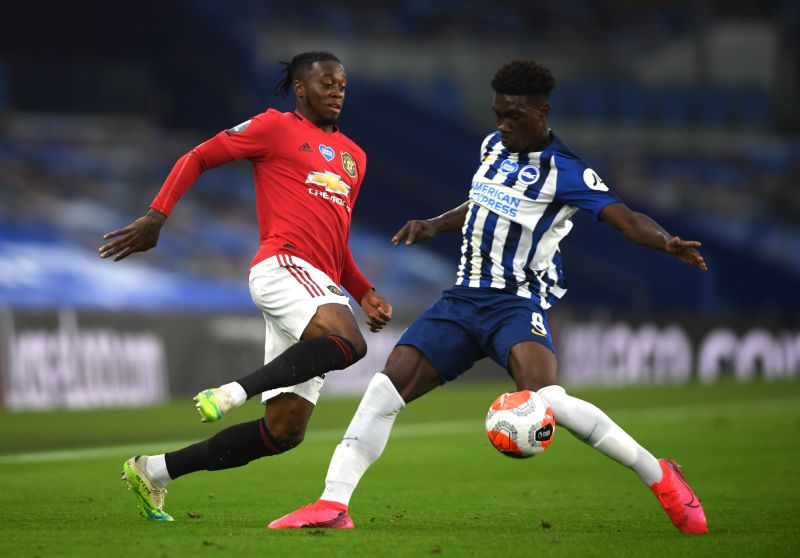 Aaron Wan-Bissaka in action for Manchester United against Brighton.