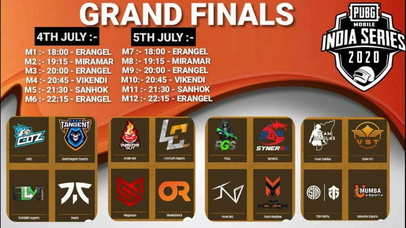 Map schedule and qualified teams for the grand finals of PMIS 2020