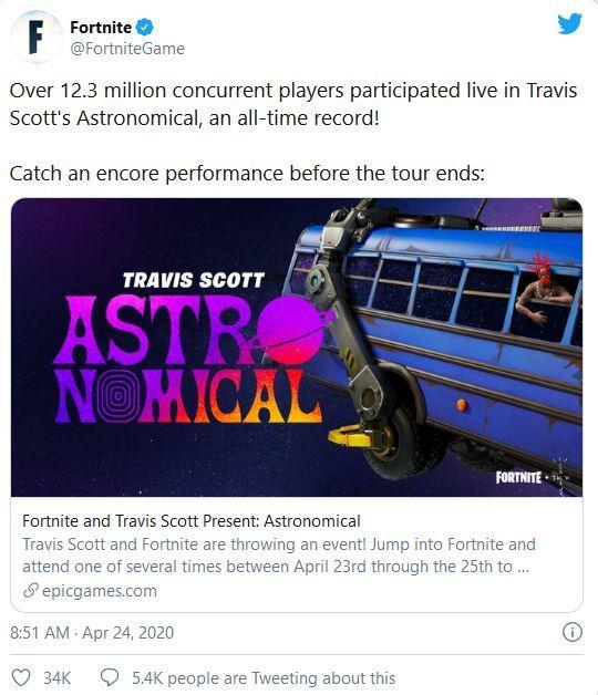 Fortnite, i numeri del concerto di Travis Scott twitter.com