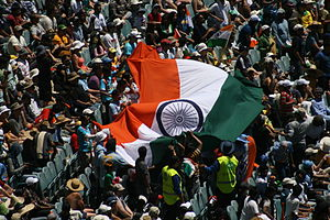 Fans wave the Indian flag during a match again...