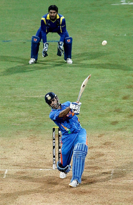 MS Dhoni plays the big shot to take India to a historical World Cup win