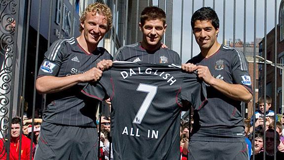 Dirk Kuyt, Steven Gerrard and Luis Suarez