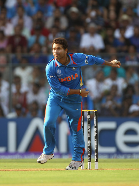 Tendulkar bowling in the World Cup Final