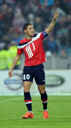 Eden Hazard on Sunday bade farewell to outgoing champions Lille