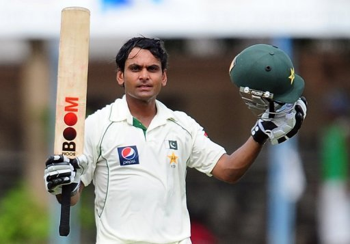 Mohammad Hafeez celebrates after scoring his fifth Test century