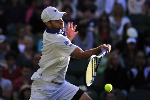 American Andy Roddick plays a forehand shot