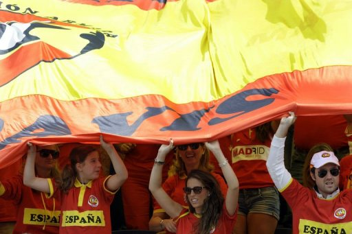 Spanish supporters cheer