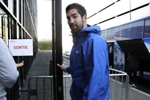 Nikola Karabatic arrives to take part in a training session of the French team