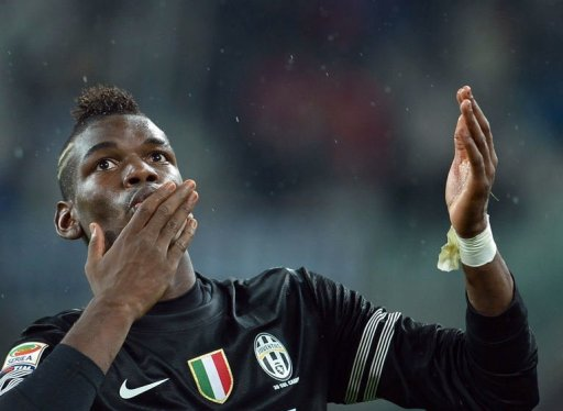 Juventus' Paul Pogba celebrates after scoring