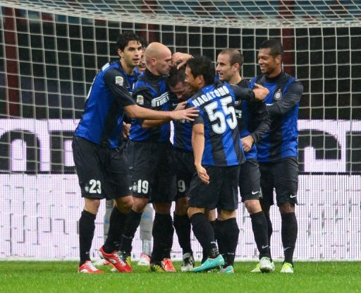 Inter Milan's players celebrate scoring