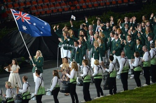 Australia's delegation arrives at the stadium during the opening ceremony of the London 2012 Olympic Games, in July