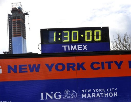 Workers construct the Finish Line as preparations continue for the 43rd New York City Marathon