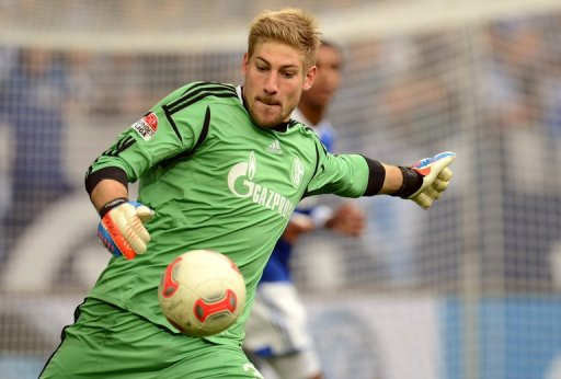 Schalke's goalkeeper Lars Unnerstall, seen here in action during their match against Nuremberg, on October 27